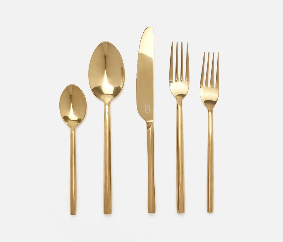 Gwen Polished Gold Flatware Set