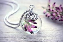 Pink Heather Botanical Necklace On Sterling Silver Chain