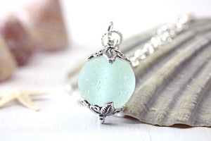 Sea Glass Codd Marble Necklace On Sterling Silver Chain
