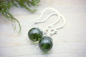 Real Moss Earrings On Sterling Silver Wires