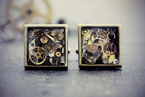 Steampunk Vintage Watch Part Cuff Links