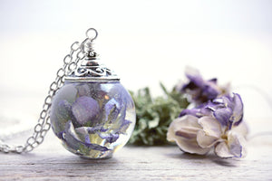 Wisteria Necklace Dried Flower Jewelry Sterling Silver Chain