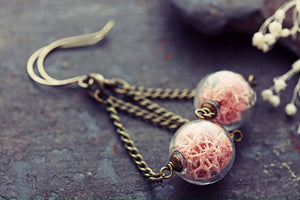 Moss Earrings Norwegian Pink Lichen