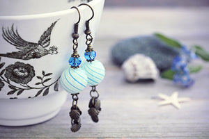 Beach Ball Earrings Hand Blown
