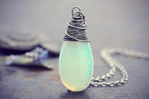 Opalite Necklace Glowing Crystal Glass