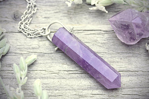 Amethyst Quartz Necklace Crystal Point