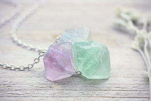 Fluorite Necklace Raw Crystal Pendant
