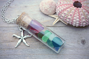 Rainbow Sea Glass Necklace Seaglass