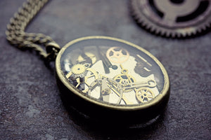 Watch Part Pendant Clockwork Necklace
