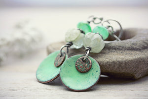 Enamel Earrings Copper Etched Jewelry