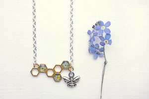 Honeycomb Necklace Dried Flower Jewelry