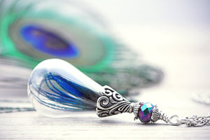 Peacock Necklace Feather Terrarium Bird