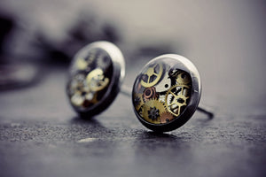 Steampunk Earrings Stainless Steel Watch