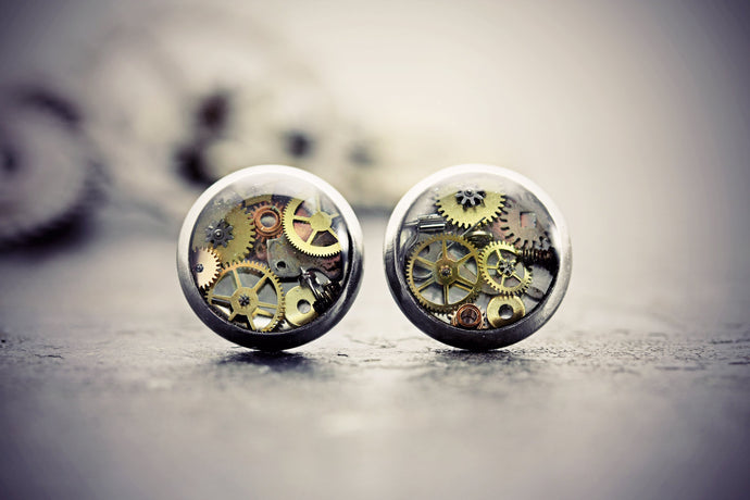 Steampunk Earrings Watch Part Studs