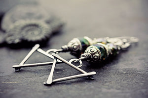 Wiccan Earrings Triangle Water Earth