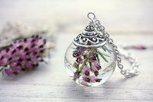 Heather Necklace Dried Flower Pendant