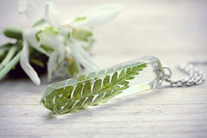 Fern Necklace Woodland Pendant Quartz