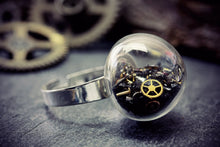 Steampunk Ring Black Glass Antique