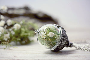 Acorn Necklace Babys Breath Moss
