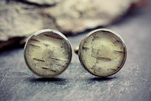 Silver Birch Cufflinks Wood Bark