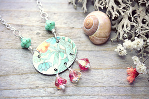 Tin Necklace Orange Flower Tree