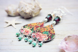 Tin Earrings Toleware Jewelry Upcycled