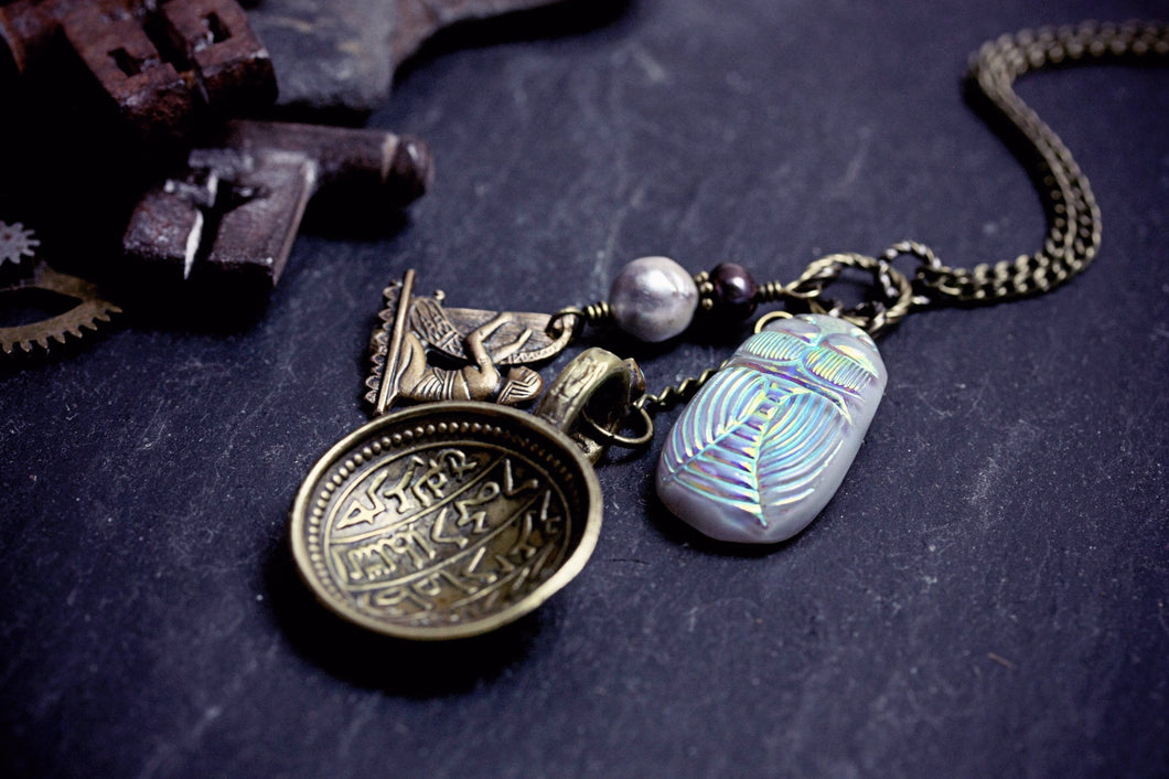 Egyptian Necklace Scarab Beetle Glass