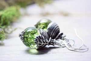 Real Moss Acorn Dangle Earrings