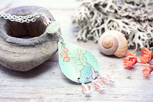 Upcycled Tin Necklace Orange Tulip