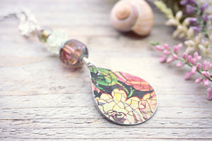 Tin Necklace Pink Flower Green