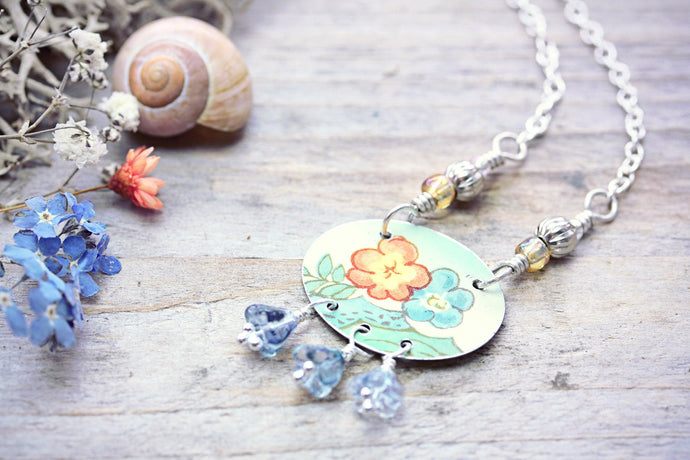 Repurposed Tin Necklace Orange Flower
