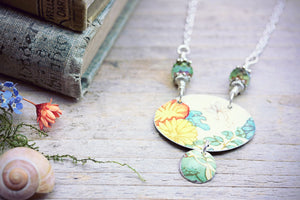 Tin Necklace Yellow Marigold Flower