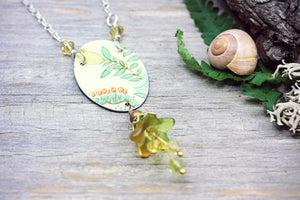 Upcycled Tin Necklace Yellow Bell