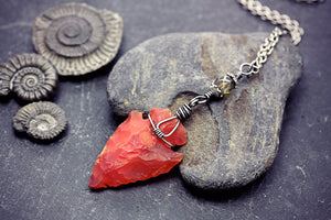 Carnelian Arrowhead Necklace Burnt Orange