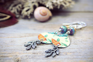 Vintage Tin Leaf Marigold Earrings