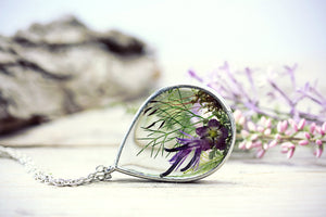 Dried Real Flower Necklace Herbarium
