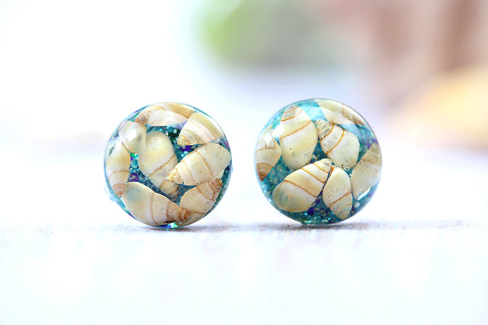Tiny Shell Earrings Botanical Studs