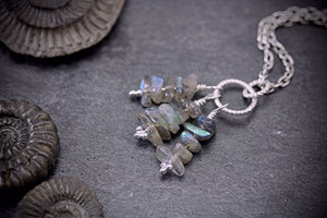 Dainty Labradorite Stone Stack Necklace