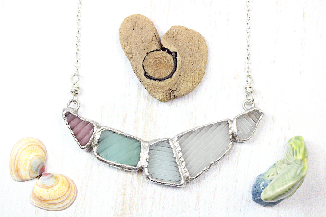 Sea Glass Necklace Statement Geometric