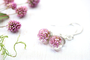 Pink Clover Earrings Botanical Meadow