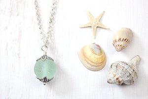 Sea Glass Codd Marble Necklace