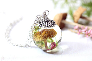 Mushroom Necklace Dried Flowers Botanical