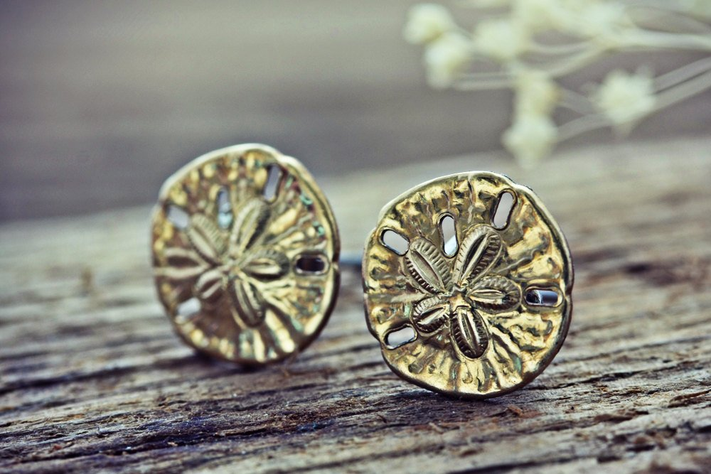 Sand Dollar Earrings Tiny Raw