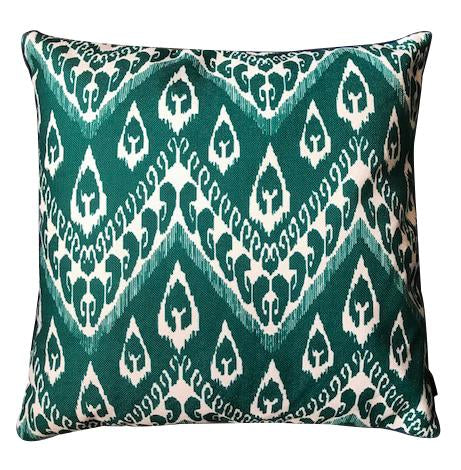Emerald ikat cushion cover