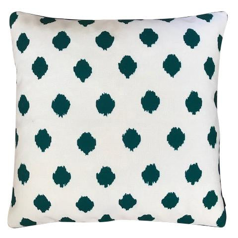 Emerald ikat spot cushion cover