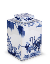 BLUE AND WHITE  - SQUARE GINGER POT