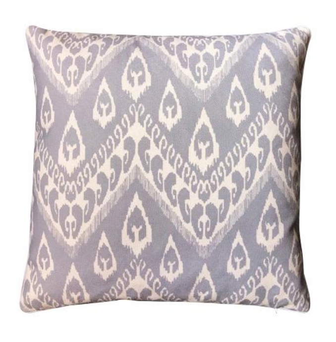Grey ikat cushion cover