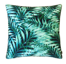 Emerald and navy palm cushion cover