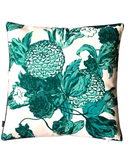 Emerald floral cushion cover