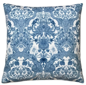 BLUE LINEN DAMASK CUSHION COVER
